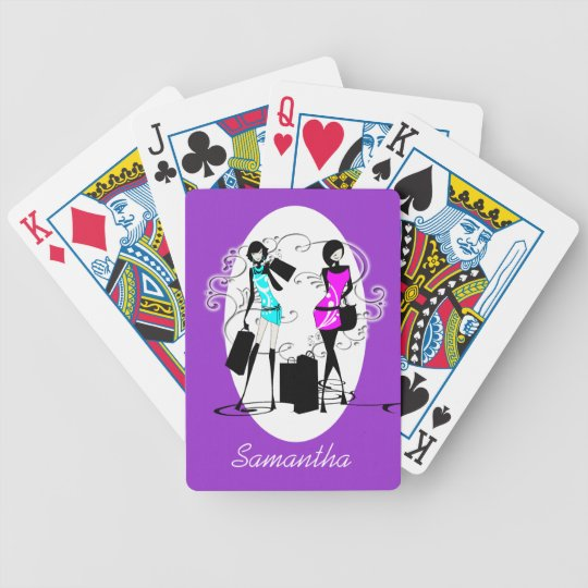 Girly name fashion models shopping bicycle playing cards
