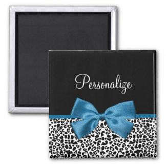 Girly Name Leopard Print Pretty Cobalt Blue Ribbon 2 Inch Square Magnet