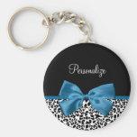 Girly Name Leopard Print Pretty Cobalt Blue Ribbon Basic Round Button Keychain