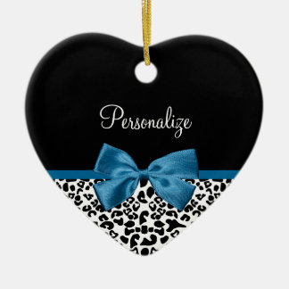 Girly Name Leopard Print Pretty Cobalt Blue Ribbon Ceramic Ornament