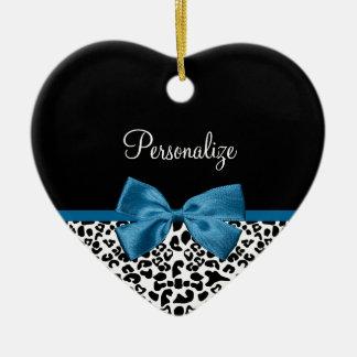 Girly Name Leopard Print Pretty Cobalt Blue Ribbon Ceramic Ornament