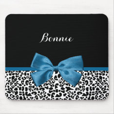 Girly Name Leopard Print Pretty Cobalt Blue Ribbon Mouse Pad at Zazzle