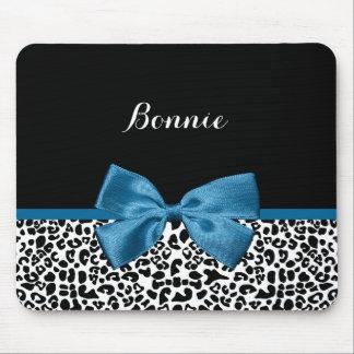 Girly Name Leopard Print Pretty Cobalt Blue Ribbon Mouse Pad