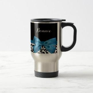 Girly Name Leopard Print Pretty Cobalt Blue Ribbon Travel Mug