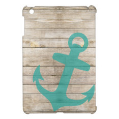 Girly Nautical Anchor And Wood Look Case For The Ipad Mini at Zazzle
