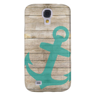 Girly Nautical Anchor and Wood Look Galaxy S4 Covers