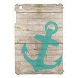Girly Nautical Anchor and Wood Look iPad Mini Cover