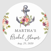 Girly Nautical Anchor Floral Bridal Shower Favor Classic Round Sticker