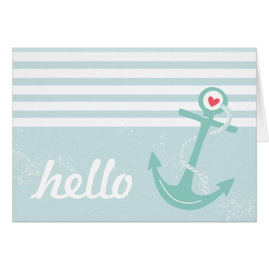 Girly Nautical Anchor Hello Card
