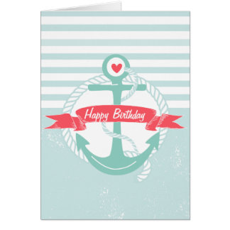 Girly Nautical Anchor Personalized Happy Birthday Card