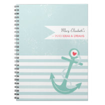 Girly Nautical Anchor Personalized Spiral Notebook