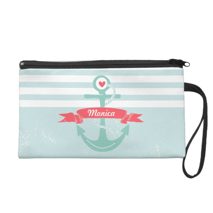 Girly Nautical Anchor Personalized Wristlet Purse
