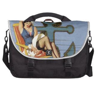 girly nautical anchor pin up girl beach laptop bags