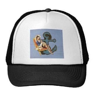 Girly nautical anchor pin up sailor beach fashion mesh hat