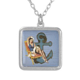 Girly nautical anchor pin up sailor beach fashion necklace