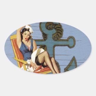 Girly nautical anchor pin up sailor beach fashion oval sticker