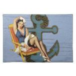 Girly nautical anchor pin up sailor beach fashion place mats