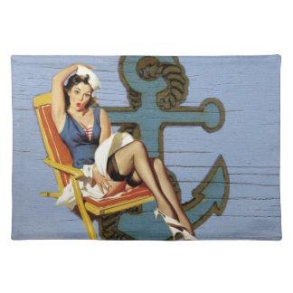 Girly nautical anchor pin up sailor beach fashion cloth place mat