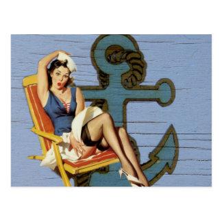 Girly nautical anchor pin up sailor beach fashion postcard