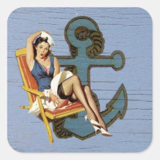 Girly nautical anchor pin up sailor beach fashion square sticker