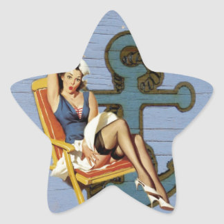 Girly nautical anchor pin up sailor beach fashion star sticker