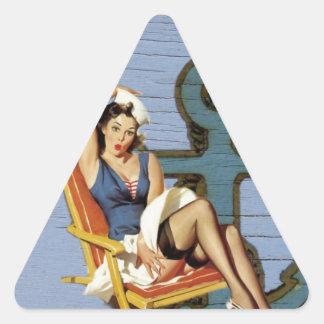 Girly nautical anchor pin up sailor beach fashion triangle sticker