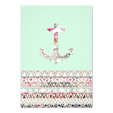 Aztec Themed Girly Nautical Anchor Pink White Floral Aztec Card