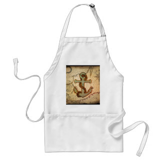 Girly nautical anchor vintage beach adult apron