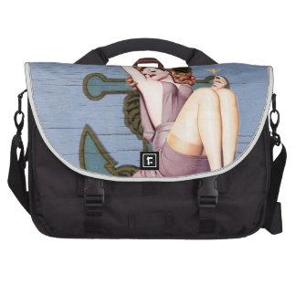 Girly nautical anchor vintage beach commuter bag