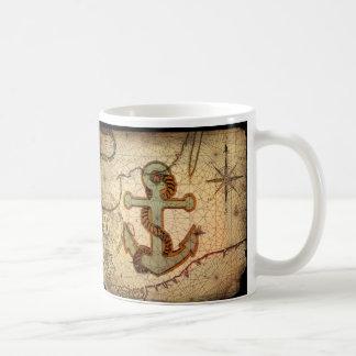 Girly nautical anchor vintage beach mug