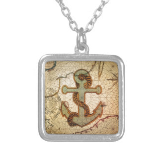 Girly nautical anchor vintage beach personalized necklace