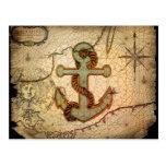 Girly nautical anchor vintage beach post cards