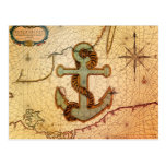Girly nautical anchor vintage beach postcard