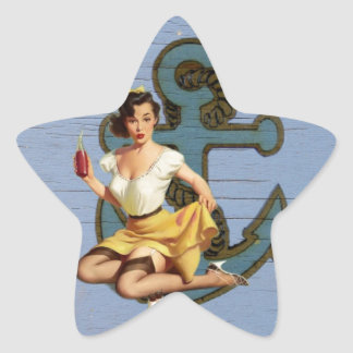 Girly nautical anchor vintage pin up girl star sticker