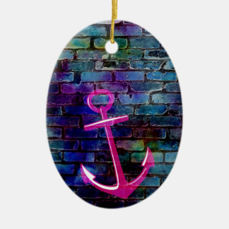 Girly Nautical Anchor with Brick Ceramic Ornament