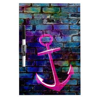 Girly Nautical Anchor with Brick Dry-Erase Whiteboard