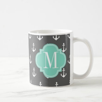 Girly Nautical Anchors Charcoal Aqua Personalized Coffee Mug