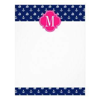 Girly Nautical Anchors Navy Pink Personalized Customized Letterhead