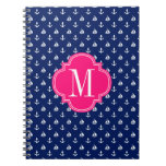 Girly Nautical Anchors Navy Pink Personalized Spiral Notebooks