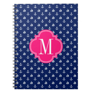Girly Nautical Anchors Navy Pink Personalized Spiral Notebook