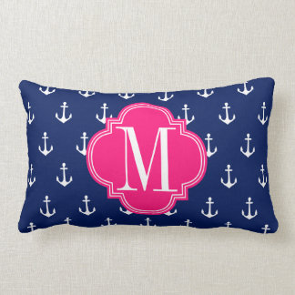 Girly Nautical Anchors Navy Pink Personalized Pillow