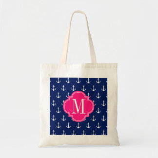 Girly Nautical Anchors Navy Pink Personalized Tote Bag