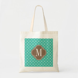 Girly Nautical Anchors Turquoise brown Personalize Tote Bag