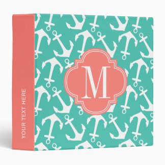 Girly Nautical Anchors Turquoise Coral Personalize 3 Ring Binder