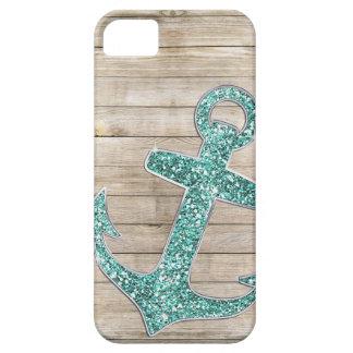 Girly Nautical Aqua Anchor & Wood Look iPhone SE/5/5s Case