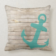 Girly Nautical Blue Anchor and Wood Look Pillow