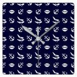 Girly nautical pattern square wall clock