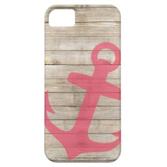 Girly Nautical Pink Anchor and Wood Look iPhone 5 Covers