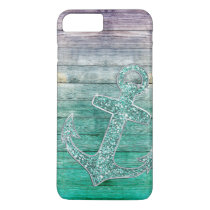 Girly Nautical Purple Aqua Anchor & Wood Look iPhone 8 Plus/7 Plus Case