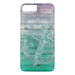 Girly Nautical Purple Aqua Anchor & Wood Look iPhone 8 Plus/7 Plus Case